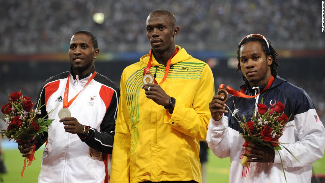 Usain Bolt won the first of his six Olympic gold medals in the 100m at Beijing 2008, crossing the line ahead of Trinidad and Tobago's Richard Thomson and USA's Walter Dix.