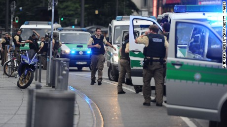 Police secures the area of Karlsplatz (Stachus square) following shootings on July 22, 2016 in Munich. Several people were killed on Friday in a shooting rampage by a lone gunman in a Munich shopping centre, media reports said / AFP / dpa / Andreas Gebert / Germany OUT        (Photo credit should read ANDREAS GEBERT/AFP/Getty Images)