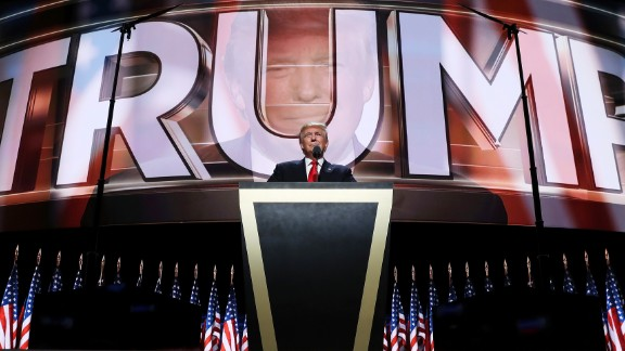 Trump delivers a speech at the Republican National Convention in July, accepting the party