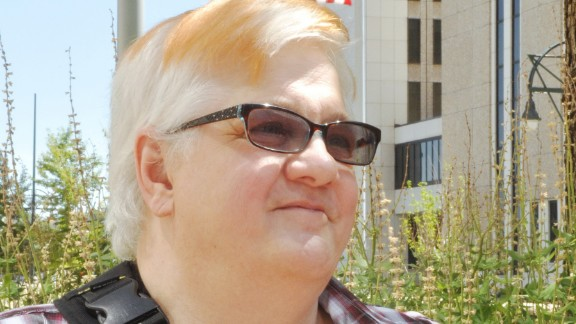 Dana Zzyym appears outside the courthouse in Denver, Colorado, on July 20.