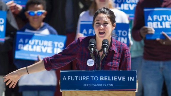 Woodley speaks to the crowd at a Sanders rally at Roger Williams Park  on April 24, 2016 in Providence, Rhode Island.
