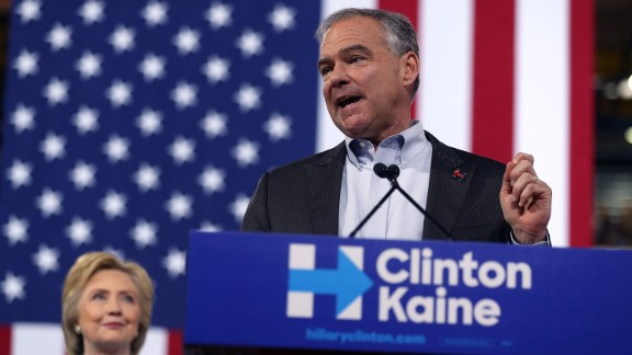 Democratic vice presidential candidate U.S. Sen. Tim Kaine (D-VA) speaks alongside Democratic presidential candidate former Secretary of State Hillary Clinton during a campaign rally at Florida International University Panther Arena on July 23, 2016 in Miami, Florida.
