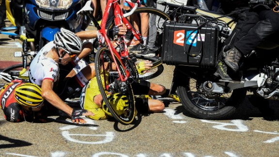 Stage 14 was the scene of remarkable drama as Froome, Bauke Mollema and Richie Porte collided with a broadcasters motorbike.