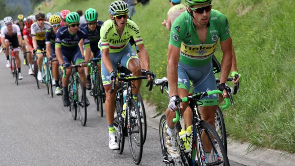 But Cavendish would give up the overall leader's yellow jersey to Slovakia's Sagan (right) over the following stages.
