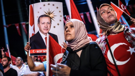 Women attend a pro-Erdogan rally in Istanbul on July 22, 2016, following the failed military coup.
