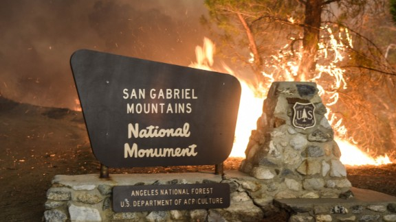 A marker at the entrance of the Angeles National Forest.