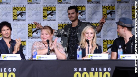 "Actor Ian Somerhalder, writer/producer Julie Plec, actors Michael Malarkey, Candice King and Matt Davis attend the ""The Vampire Diaries"" panel during Comic-Con International 2016."