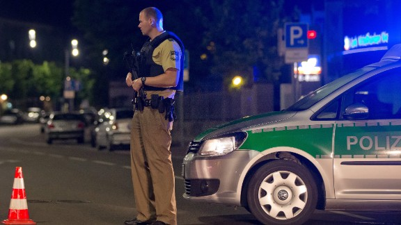 A police officer stands guard in Ansbach.