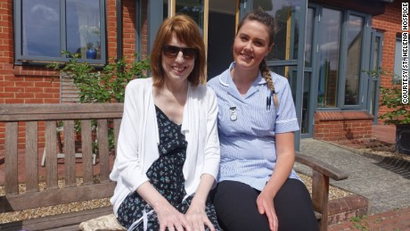 St. Helena Hospice nurse's assistant Emma Young with patient Sharon Jack.