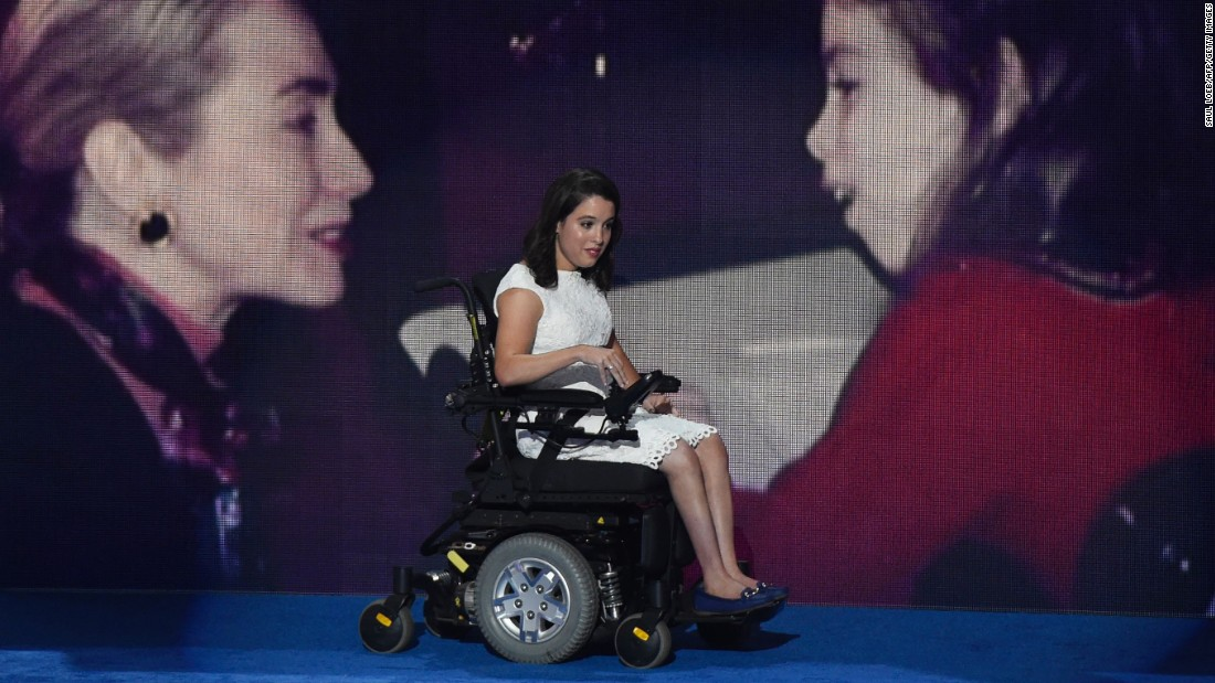 Anastasia Somoza, an advocate for people with disabilities, comes out to speak.