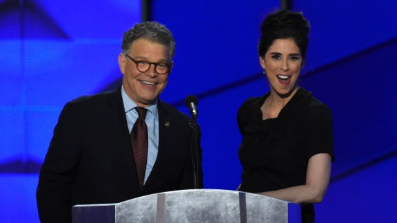 "U.S. Sen. Al Franken appears on stage with comedian Sarah Silverman. Franken, of course, has a comedic background as well, having once starred on ""Saturday Night Live."""