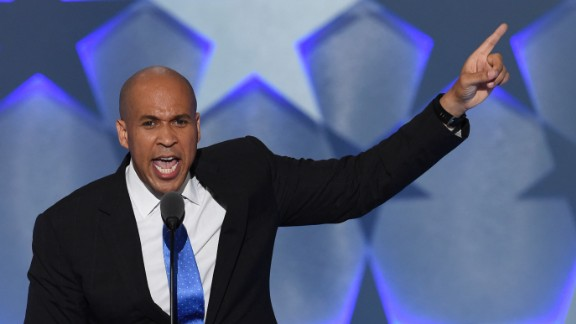 "In his speech Monday, U.S. Sen. Cory Booker included a message about togetherness. ""Patriotism is love of country. But you can"
