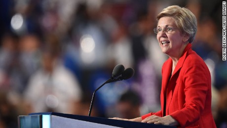 US Senator Elizabeth Warren speaks during Day 1 of the Democratic National Convention at the Wells Fargo Center in Philadelphia, Pennsylvania, July 25, 2016.