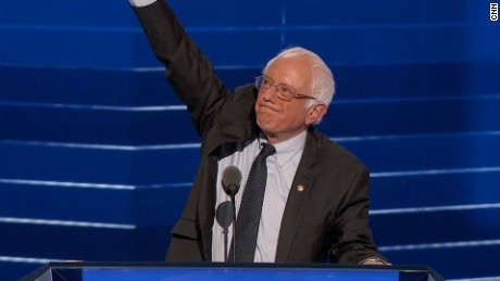 Bernie Sanders takes the stage at the DNC Convention