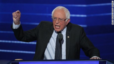 Sen. Bernie Sanders (I-VT) delivers remarks on the first day of the Democratic National Convention at the Wells Fargo Center, July 25, 2016 in Philadelphia, Pennsylvania. An estimated 50,000 people are expected in Philadelphia, including hundreds of protesters and members of the media. The four-day Democratic National Convention kicked off July 25.  (Photo by Alex Wong/Getty Images)