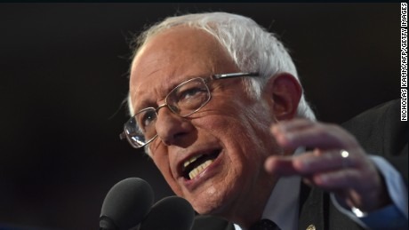 Vermont Senator and former Democratic presidential candidate Bernie Sanders speaks on Day 1 of the Democratic National Convention at the Wells Fargo Center in Philadelphia, Pennsylvania, July 25.
