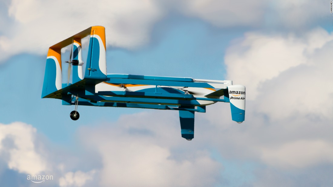 "Amazon has been making significant headway in drone deliveries, with the first drop in the UK occurring in <a href=""http://money.cnn.com/2016/12/14/technology/amazon-drone-delivery/index.html"">2016</a>. In 2017 a patent application emerged showing details of a system for safe air drop in back yards -- even involving tiny parachutes. <a href=""http://money.cnn.com/2017/02/14/technology/amazon-drone-patent/index.html"">Read more.</a>"
