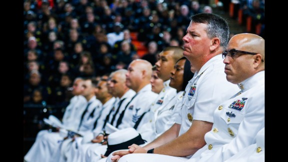 U.S. sailors attend a funeral service in Fort Worth, Texas, for Dallas police officer Patrick Zamarripa on Saturday, July 16. Zamarripa was one of the five Dallas police officers killed by a gunman earlier this month.