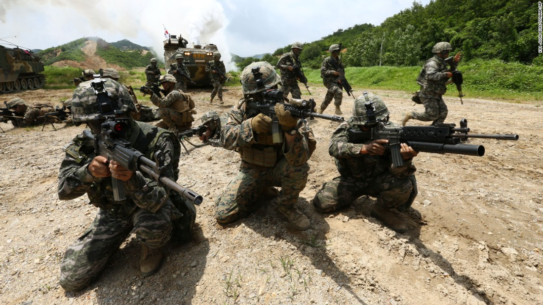 U.S. and South Korean Marines take part in a joint military exercise in Pohang, South Korea, on Wednesday, July 6.