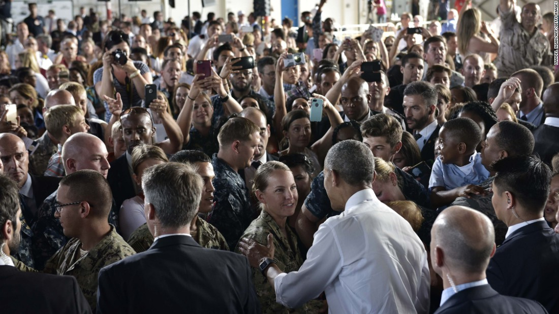 U.S. President Barack Obama greets service members after speaking at Naval Station Rota in southwestern Spain on Sunday, July 10.