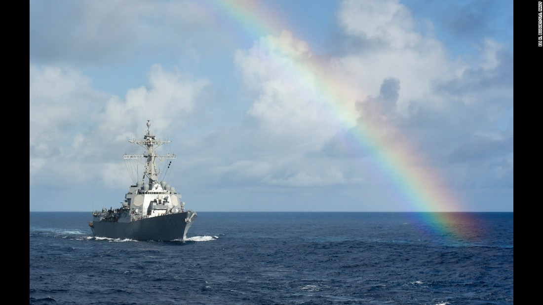 "The USS Howard passes through a rainbow while sailing in the Pacific Ocean on Thursday, July 14. <a href=""http://www.cnn.com/2016/06/27/politics/gallery/us-military-june-photos/index.html"" target=""_blank"">See U.S. military photos from June</a>"