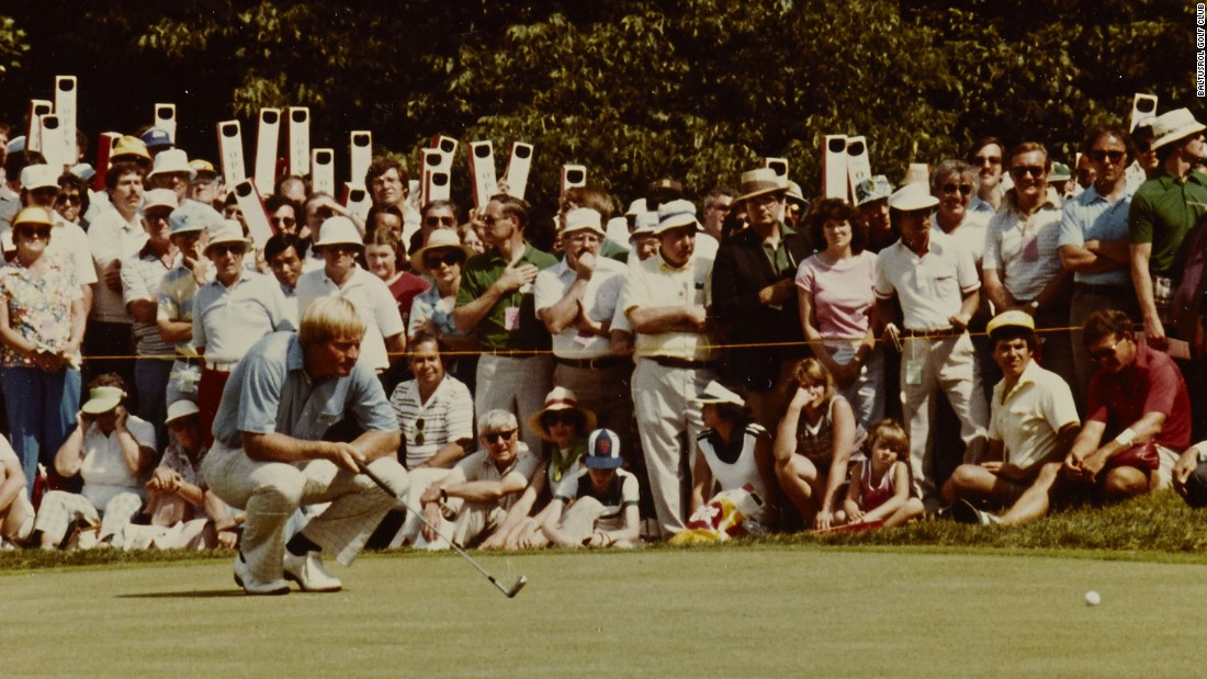 "In 1980, the Baltusrol galleries chanted ""Jack is Back"" as Nicklaus won his fourth and final U.S. Open title, beating his own scoring record. Notice the periscopes used by fans to see the action."