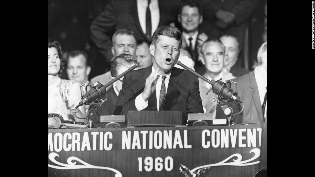 Kennedy accepts his party's nomination on July 13, 1960. He had not announced his running mate at that point.
