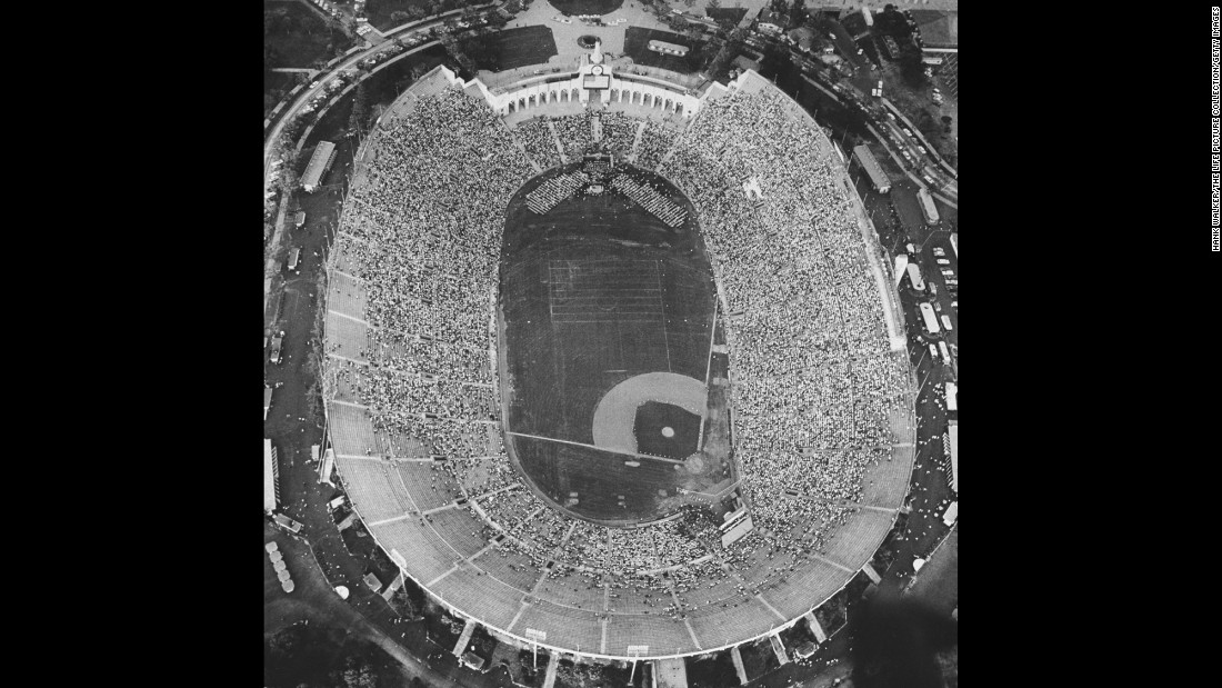 An aerial view of Kennedy's speech at the Coliseum, which was built in 1923 and has hosted Olympic ceremonies, the Super Bowl and numerous other high-profile events.