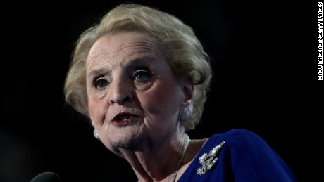 Former secretary of state Madeleine Albright delivers remarks on the second day of the Democratic National Convention at the Wells Fargo Center, July 26, 2016 in Philadelphia, Pennsylvania. Democratic presidential candidate Hillary Clinton received the number of votes needed to secure the party's nomination. An estimated 50,000 people are expected in Philadelphia, including hundreds of protesters and members of the media. The four-day Democratic National Convention kicked off July 25.