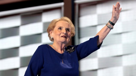 Former U.S. secretary of state Madeleine Albright waves to the crowd after speaking on Tuesday.