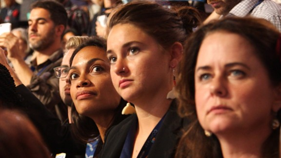 Actresses Shailene Woodley and Rosario Dawson, who are die-hard Sanders supporters, attend the Democratic National Convention.