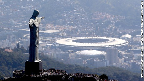 RIO DE JANEIRO, BRAZIL - JULY 04:  Aerial view of Christ the Redeemer with Maracana Stadium in the background  in preparation for the 2016 Olympic Games on July 4, 2016 in Rio de Janeiro, Brazil.  (Photo by Matthew Stockman/Getty Images)
