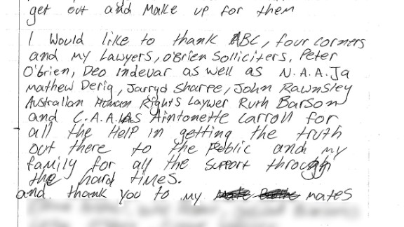 """Dylan Voller, a teenage detainee featured in the Australian news program on alleged abuse at detention centers, wrote a letter this week thanking """"the whole Australian community for the support you have showed."""""""