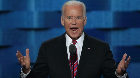 US Vice President Joe Biden delivers remarks on the third day of the Democratic National Convention at the Wells Fargo Center, July 27, 2016 in Philadelphia, Pennsylvania. Democratic presidential candidate Hillary Clinton received the number of votes needed to secure the party's nomination. An estimated 50,000 people are expected in Philadelphia, including hundreds of protesters and members of the media. The four-day Democratic National Convention kicked off July 25.