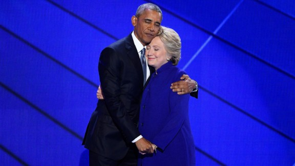 In a symbol of American optimism and activism, President Barack Obama embraces Hillary Clinton at the Democratic National Convention.