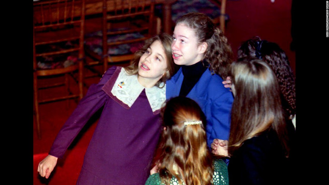 Chelsea, in the blue, attends a Washington luncheon with a friend in January 1993.