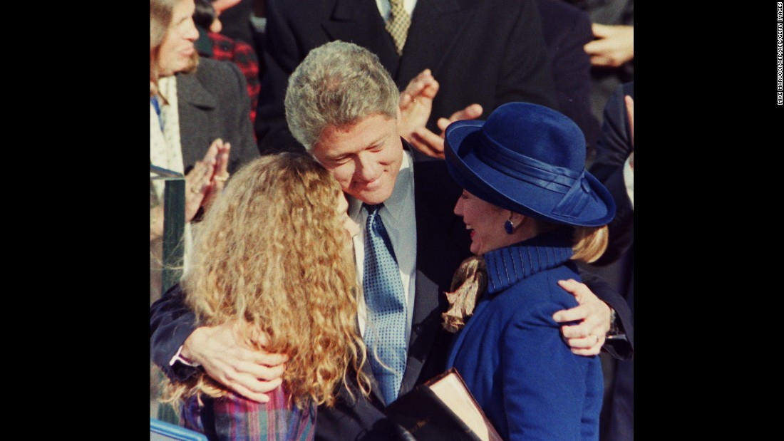 The Clintons hug after Bill was sworn in as the 42nd President of the United States.