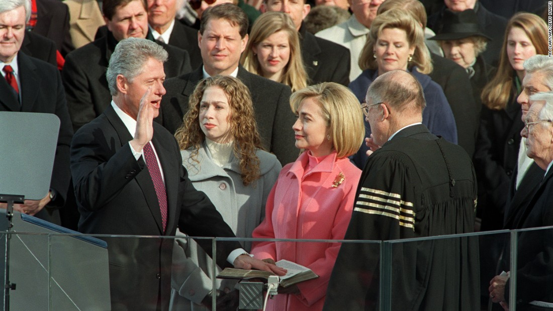 Bill Clinton is sworn in for a second term in January 1997.