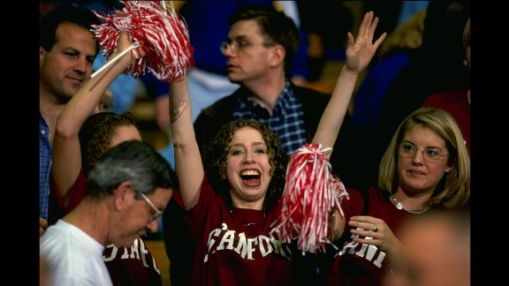 Chelsea, as a student at Stanford University, attends a basketball game in Westwood, California, in January 1999.