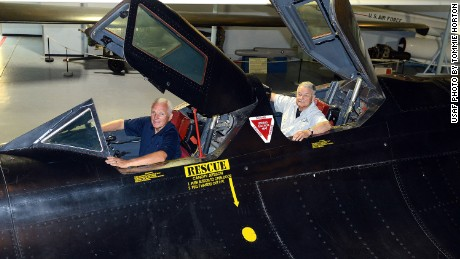 "Maj. Gen. Eldon ""Al"" Joersz, USAF pilot retired, front, and Lt. Col. George ""GT"" Morgan, USAF retired reconnaissance systems officer, sit inside the cockpit of the SR-71 aircraft they flew when setting the world absolute speed record for jet-powered aircraft on July 28, 1976. The two were at the Museum of Aviation in Warner Robins, Georgia for the 40th anniversary of the historic flight."