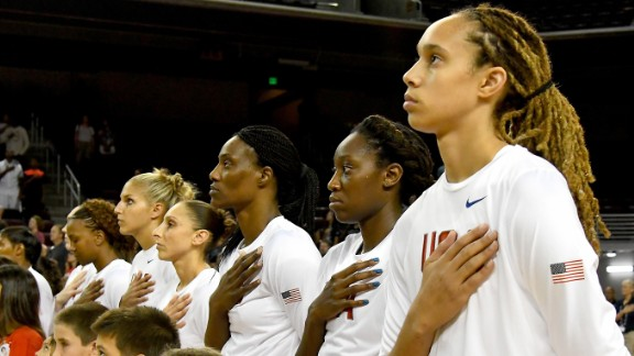 Team USA center Brittney Griner (far right) will try and lead her team to its sixth consecutive Olympic gold in Rio 2016.