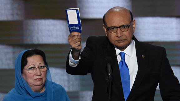 Khizr Khan holds his personal copy of the US Constitution while addressing delegates on the fourth and final day of the Democratic National Convention at Wells Fargo Center on July 28, 2016 in Philadelphia, Pennsylvania.   Khizr Khans son, Humayun S. M. Khan was a University of Virginia graduate and enlisted in the US Army. Khan was one of 14 American Muslims who died serving the United States in the ten years after the September 11, 2001 terrorist attacks. / AFP / SAUL LOEB        (Photo credit should read SAUL LOEB/AFP/Getty Images)