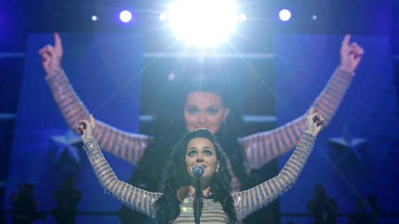 "Singer Katy Perry performs ""Rise"" on Thursday."