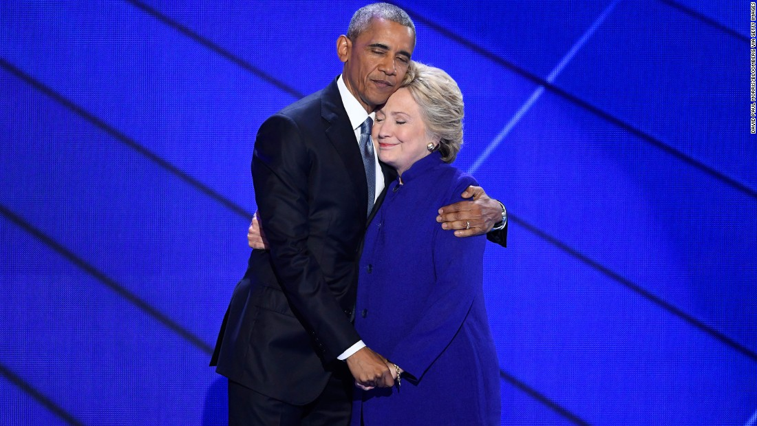 "Obama hugs Clinton after he gave a speech at the Democratic National Convention in Philadelphia. The president said Clinton was ready to be commander in chief. ""For four years, I had a front-row seat to her intelligence, her judgment and her discipline,"" he said, referring to her stint as his secretary of state."
