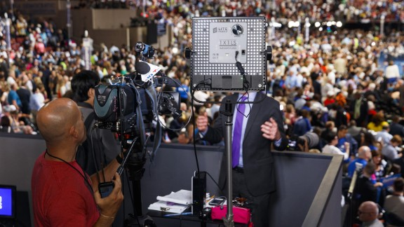 NBC 10 Philadelphia broadcasts from a press stand above the floor of the Democratic National Convention. Photos: The