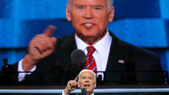 """Vice President Joe Biden speaks at the Democratic convention on Wednesday, July 27. During his speech, he went after Republican nominee Donald Trump, saying """"this guy doesn"""