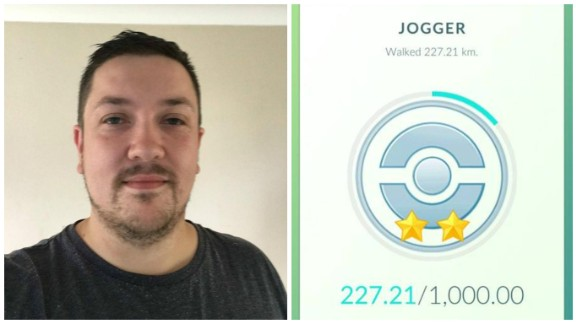 Pokemon Go player Sam Clark with his Jogger medal, showing he walked 227.21 kilometers whilst finding 143 Pokemons.