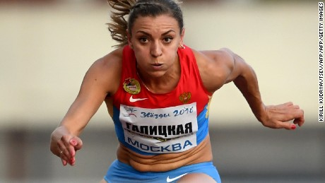 "TOPSHOT - Russia's Ekaterina Galitskaya competes in the women's 100m hurdles final at a track and field meet called ""Stars of 2016"" in Moscow on July 28, 2016. Russia's athletics federation holds a competition event for the athletes who have been banned from the Rio Olympics over evidence of state-sponsored doping and mass corruption in the sport. / AFP / Kirill KUDRYAVTSEV        (Photo credit should read KIRILL KUDRYAVTSEV/AFP/Getty Images)"
