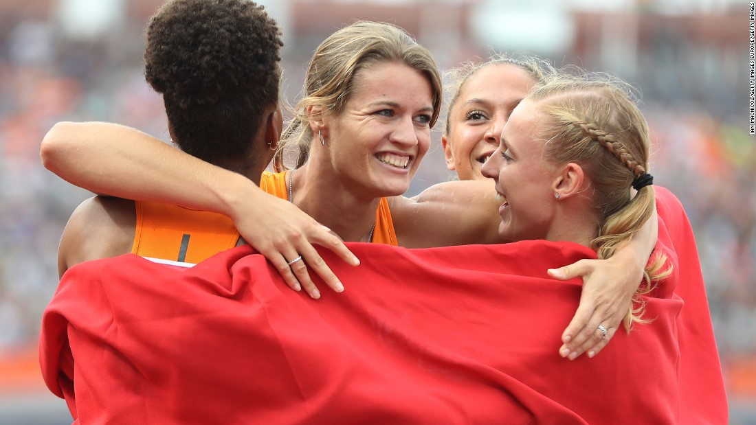 Schippers celebrates with her Dutch teammates after winning gold in the women's 4x100m relay final during day five of the European Athletics Championships at the Olympic Stadium on July 10, 2016 in Amsterdam, Netherlands.
