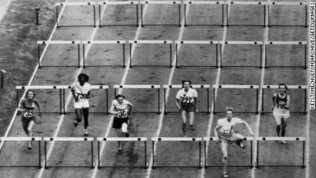 Blankers-Koen streaks ahead in the 80m hurdles at the London 1948 Olympic Games -- an event she went on to win in record time.